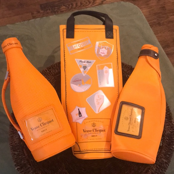 Wine Bags, Boxes & Carriers Veuve Clicquot Orange Canvas Insulated Champagne Bottle Bag New!